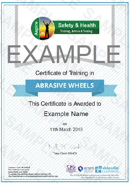Online Abrasive Wheels Training Risk Assessment Training